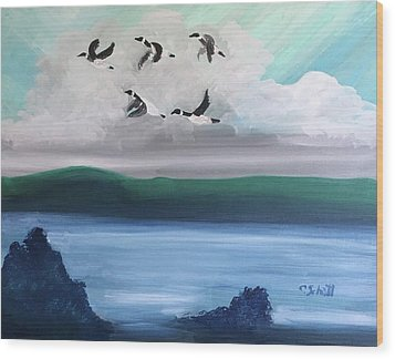 Morning Geese Wood Print