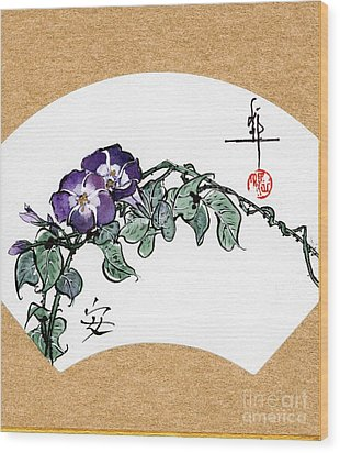 Morning Glories Fan Painting Wood Print by Linda Smith