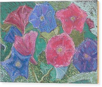 Morning Glories Wood Print by Hillary McAllister
