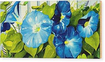 Morning Glories In Blue Wood Print by Janis Grau