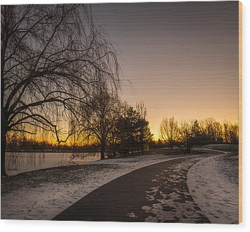 Wood Print featuring the photograph Morning Glow Along Hoyt Lake by Chris Bordeleau