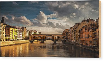 Wood Print featuring the photograph Morning Glow On Ponte Vecchio by Andrew Soundarajan