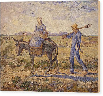Morning Going Out To Work Wood Print by Vincent Van Gogh