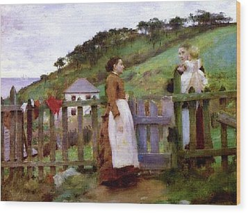 Wood Print featuring the painting Morning Gossip by Henry Scott Tuke