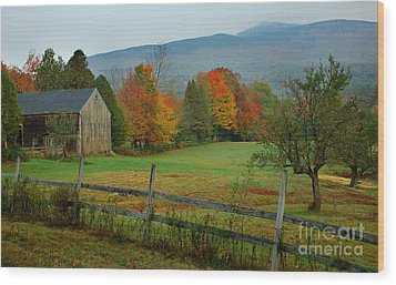 Morning Grove - New England Fall Monadnock Farm Wood Print by Jon Holiday