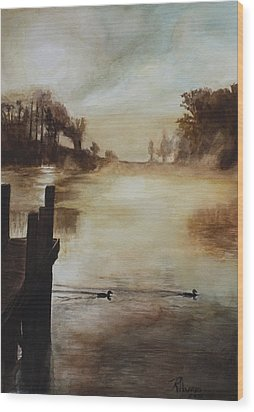 Wood Print featuring the painting Morning Has Broken by Rachel Hames