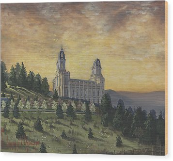 Morning He Came Again Into The Temple Wood Print by Jeff Brimley