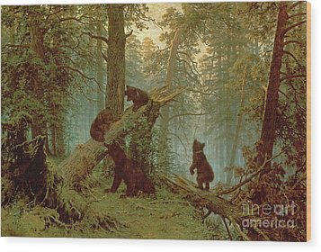 Morning In A Pine Forest Wood Print by Ivan Ivanovich Shishkin