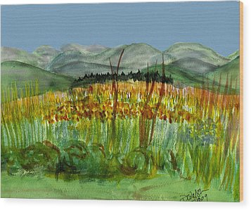 Wood Print featuring the painting Morning In Backyard At Barton by Donna Walsh