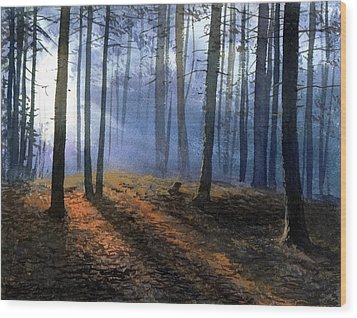 Morning In Pine Forest Wood Print by Sergey Zhiboedov