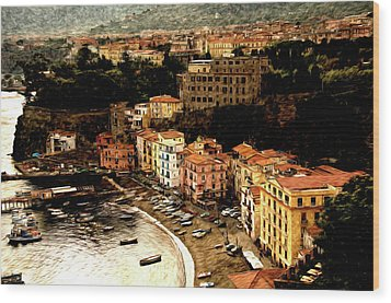 Morning In Sorrento Italy Wood Print by Xavier Cardell