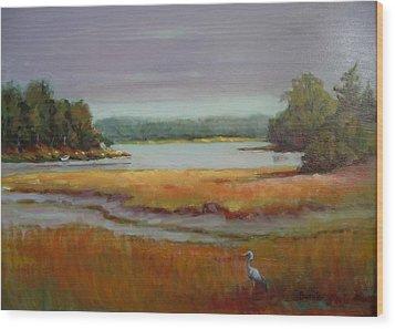 Morning In The Salt Marsh Wood Print