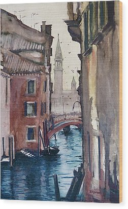 Morning In Venice Wood Print by Geni Gorani