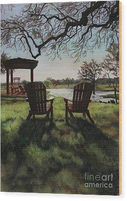 Morning Light At The Vineyard Florence Texas Wood Print by Kelly Borsheim