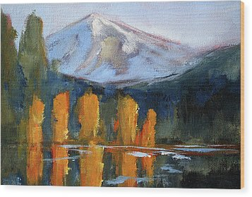 Wood Print featuring the painting Morning Light Mountain Landscape Painting by Nancy Merkle