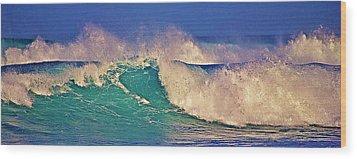 Morning Light On Breaking Waves Wood Print