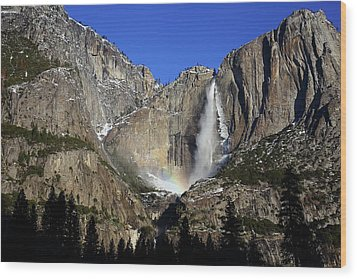 Wood Print featuring the photograph Morning Light On Upper Yosemite Falls In Winter by Jetson Nguyen