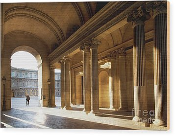 Wood Print featuring the photograph Morning Lights At The Louvre Museum by Ivy Ho