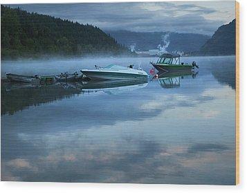 Morning Mist Adams Lake Wood Print by Theresa Tahara