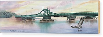 Morning Mist City Island Bridge Wood Print by Marguerite Chadwick-Juner