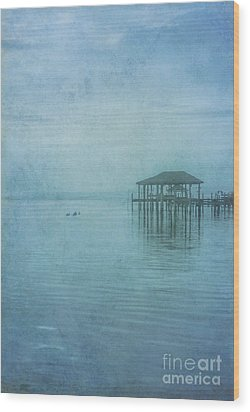 Wood Print featuring the digital art Morning Mist In Blue by Randy Steele