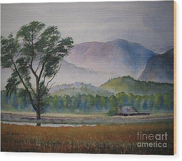 Morning Mist Wood Print by Shirley Braithwaite Hunt
