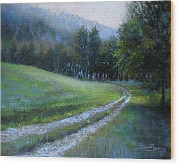 Morning On Blue Mountain Road Wood Print by Susan Jenkins