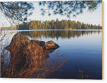 Morning On Chad Lake 2 Wood Print by Larry Ricker
