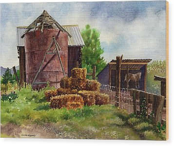 Wood Print featuring the painting Morning On The Farm by Anne Gifford