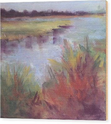 Morning On The Marsh Wood Print