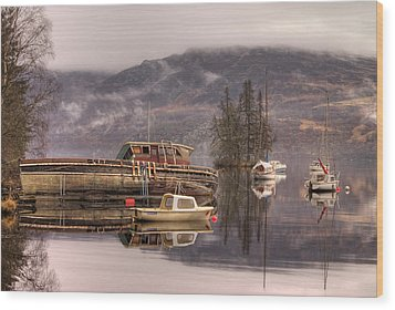 Morning Reflections Of Loch Ness Wood Print by Ian Middleton