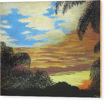 Wood Print featuring the painting Morning Sky by Frederic Kohli