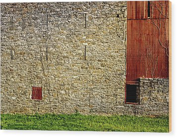 Wood Print featuring the photograph Morning Sun Warms 1910 Stone Barn Wall by Frank J Benz
