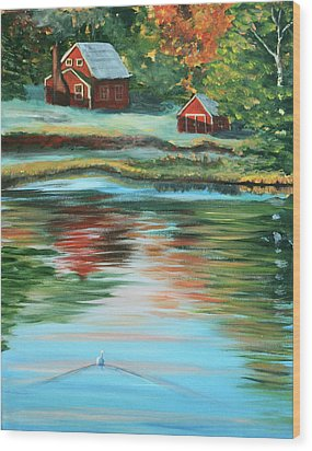 Morning Swim Wood Print by Lorraine Vatcher