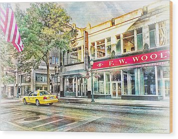 Morning Taxi Downtown Urban Scene Wood Print