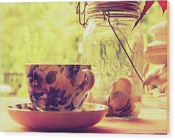Morning Tea Wood Print