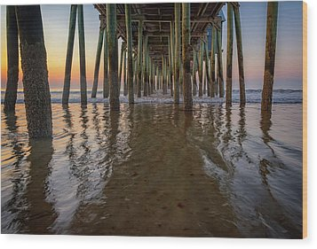 Wood Print featuring the photograph Morning Under The Pier, Old Orchard Beach by Rick Berk