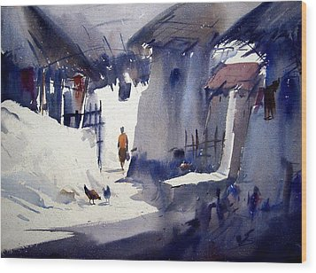 Wood Print featuring the painting Morning Village Light by Samiran Sarkar
