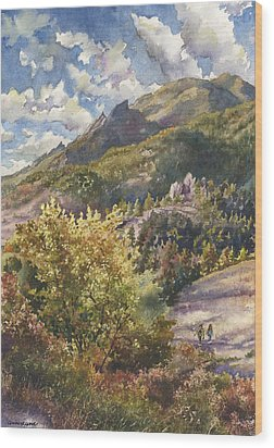Wood Print featuring the painting Morning Walk At Mount Sanitas by Anne Gifford