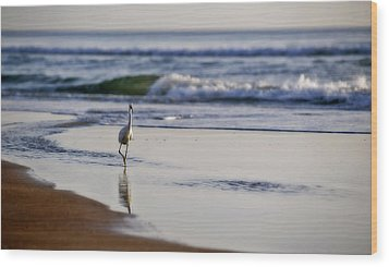 Morning Walk At Ormond Beach Wood Print