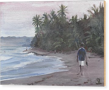 Morning Walk Wood Print by Sarah Lynch