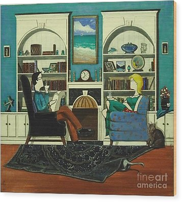 Morning With The Cats While Sitting In Chairs Wood Print by John Lyes