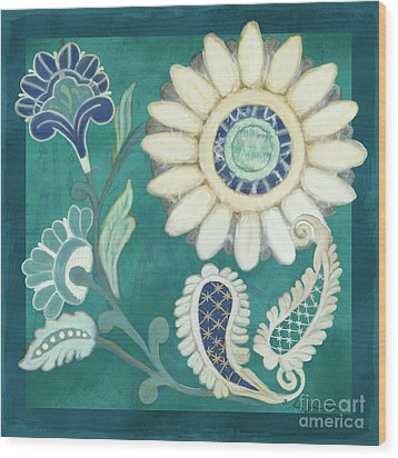 Wood Print featuring the painting Moroccan Paisley Peacock Blue 2 by Audrey Jeanne Roberts