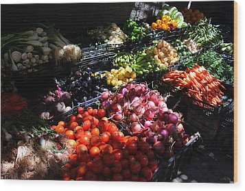 Wood Print featuring the photograph Moroccan Vegetable Market by Ramona Johnston