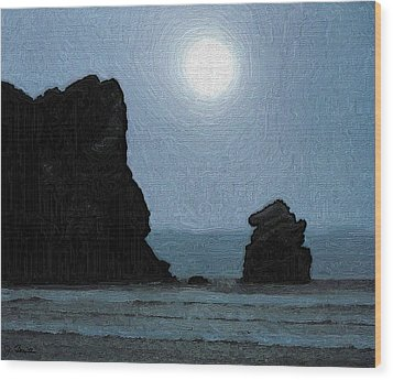 Morro Bay Rock Wood Print
