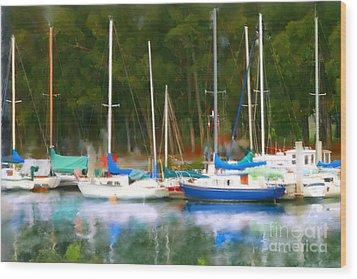 Morro Bay Sail Boats Wood Print