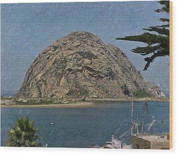 Morro Rock California Painting Wood Print by Teresa Mucha