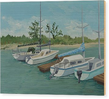 Wood Print featuring the painting Morro Bay State Park Ca by Katherine Young-Beck