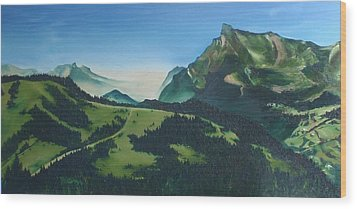 Wood Print featuring the painting Morzine by Mira Cooke