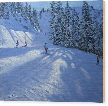 Morzine Ski Run Wood Print by Andrew Macara